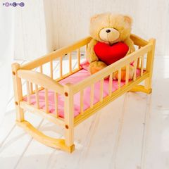 Деревянная кроватка-люлька для кукол, розовый текстиль