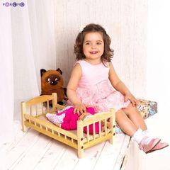 Классическая кроватка для кукол, бежевый текстиль