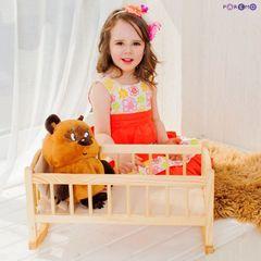 Кукольная люлька из дерева, бежевый текстиль
