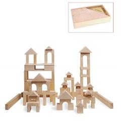 Деревянный конструктор, 85 деталей, неокрашенный, в деревянном ящике