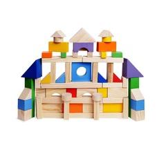 Деревянный конструктор, 85 деталей, окрашенный, в пакете