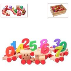 Деревянный паровозик с цифрами, в деревянном ящике