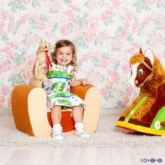 Мягкое игровое кресло «Котенок», цв. Бежевый+Оранжевый