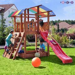 Набор для игровой площадки: детский домик с песочницей, тентом, горкой, качелей и сдвоенными кольцами