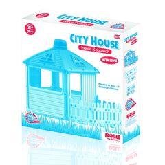 Игровой домик для улицы Городской дом с ограждением