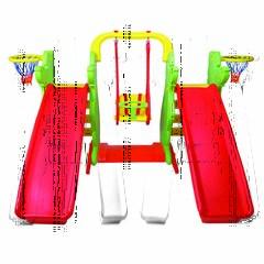 Игровой компекс для двойни и погодков (2 горки, 2 баскетбольных кольца и качели)