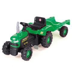 Педальный трактор зелено-черный с прицепом