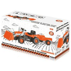 Педальный трактор-экскаватор с прицепом