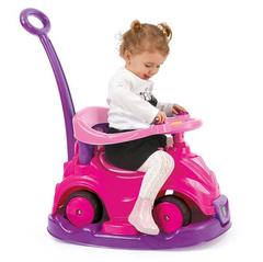 Автомобиль-каталка 4 в 1 с родительской ручкой розовый