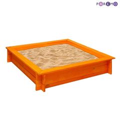 """Деревянная песочница """"Афина"""" (4 лавки, пропитка, подложка), цв. Оранжевый"""