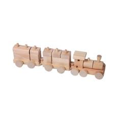 Деревянный конструктор-паровозик, неокрашенный, в пакете