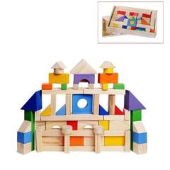Деревянный конструктор, 85 деталей, окрашенный, в деревянном ящике