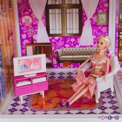 1-этажный кукольный дом с 2 комнатами, мебелью и куклой в наборе