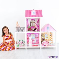 2-этажный кукольный дом с 3 комнатами, мебелью, 3 куклами и велосипедом в наборе