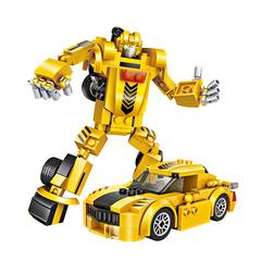 """Конструктор-трансформер 2 в 1 """"Легковой автомобиль"""", 179 деталей, цвет желтый"""