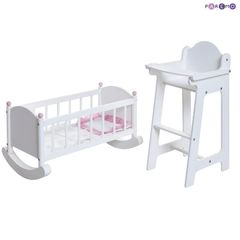 Набор кукольной мебели (стул+люлька), цвет Белый
