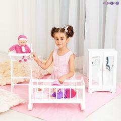 Набор кукольной мебели (стул+люлька+шкаф), цвет Белый