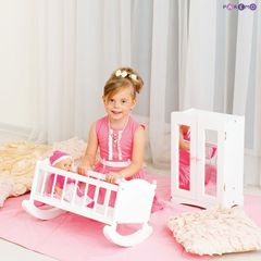 Набор кукольной мебели (шкаф+люлька), цвет Белый