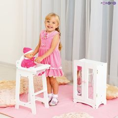 Набор кукольной мебели (шкаф+стул), цвет Белый
