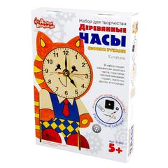 """Набор для творчества """"Деревянные часы своими руками. Котенок"""" с красками"""