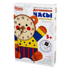 """Набор для творчества """"Деревянные часы своими руками. Медвежонок"""" с красками"""