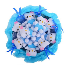 """Букет из мягких игрушек """"Кити"""", 9 шт, цвет голубой"""