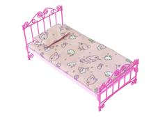Кроватка розовая с постельным бельем
