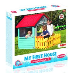 Игровой домик для улицы с ограждением
