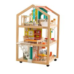 Кукольный домик Ассембли, с мебелью 42 элемента, на колесиках
