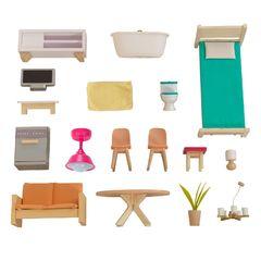 Кукольный домик Дотти, с мебелью 17 элементов, интерактивный