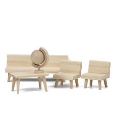 Набор деревянной мебели для домика «Сделай сам» Гостиная