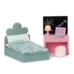 Набор мебели для домика Комната подростка: кровать + компьютерный стол