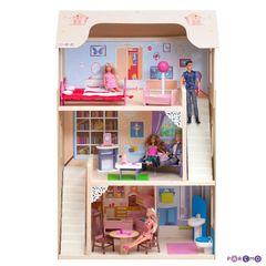 """Деревянный домик для кукол """"Шарм"""" с 16 предметами мебели и 2 лестницами"""