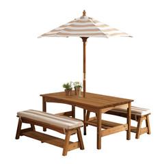 Стол с двумя скамейками и зонтом (бело-коричнеые полосы)