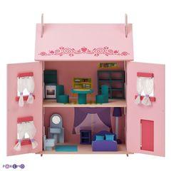 """Большой домик из дерева для кукол """"Милана"""" с 15 предметами мебели"""