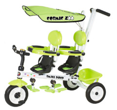 Трехколесный велосипед для двоих детей, двойни, погодков Small Rider Cosmic Zoo Twins