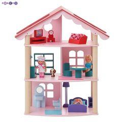 """Трехэтажный домик для куклы """"Роза Хутор"""" с 14 предметами мебели"""
