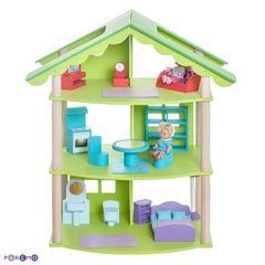 """Трехэтажный домик для кукол """"Фиолент"""" с 14 предметами мебели"""