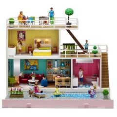 Кукольный домик с освещением Стокгольм с бассейном