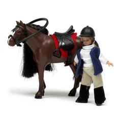 Куклы для домика Девочка и лошадь