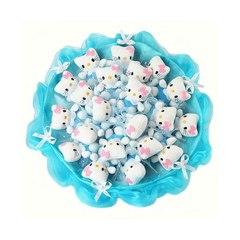 """Букет из мягких игрушек """"Котята"""", 21 шт, цвет голубой"""