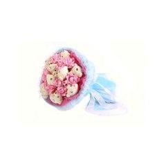 """Букет из мягких игрушек """"Медвежата и розы"""", 9 мишек и 9 роз, цвет розовый с голубым"""
