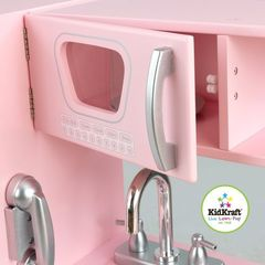 """Кухня детская из дерева """"Винтаж"""", цвет Розовый (Pink Vintage Kitchen)"""