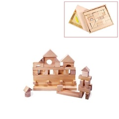 Деревянный конструктор, 35 деталей, неокрашенный, в деревянном ящике