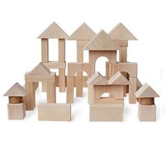 Деревянный конструктор, 51 деталь, неокрашенный, в пакете