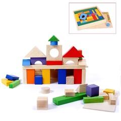 Деревянный конструктор, 51 деталь, окрашенный, в деревянном ящике (окрашено 20 деталей)