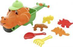 """Тачка """"Малыш Дин"""", совок №10, грабли №10, формочки (тигр + мамонт + динозавр №1 + динозавр №2)"""