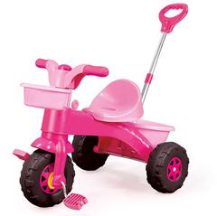 Мой первый велосипед с родительской ручкой розовый