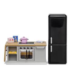 Набор мебели для домика Кухонный остров и холодильник