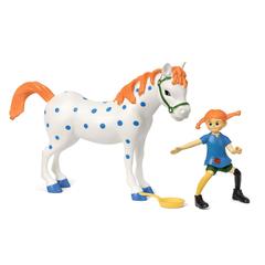 Набор кукол для домика Пеппи Длинный чулок и лошадь